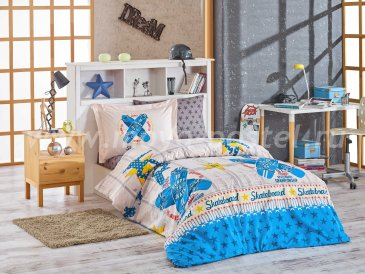 Полутороспальное постельное белье «SKATEBOARD», серое с синим рисунком, поплин в интернет-магазине Моя постель