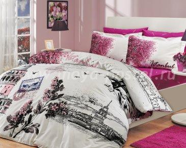 Розовое постельное белье «ISTANBUL PANAROMA» с изображением города Стамбула, поплин, полутороспальное в интернет-магазине Моя постель