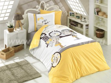 Желтое постельное белье «SMILE», полутороспальное, поплин в интернет-магазине Моя постель