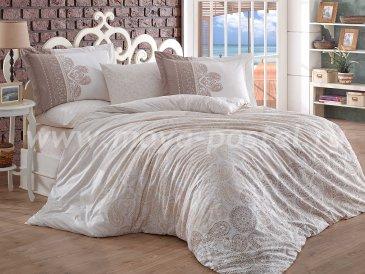 Бежевое постельное белье «IRENE» из поплина, полутороспальное в интернет-магазине Моя постель