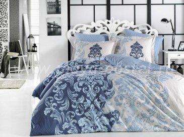 Постельное белье из поплина «MIRELLA» синего цвета, евро размер в интернет-магазине Моя постель
