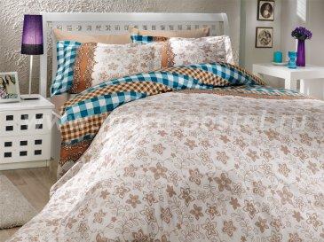 Бежевое постельное белье «SERENA», поплин, полуторное в интернет-магазине Моя постель