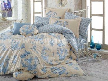 Постельное белье «VANESSA» двуспальное, в голубом цвете, поплин в интернет-магазине Моя постель