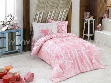 Розовое постельное белье «LOVE» из поплина, полутороспальное в интернет-магазине Моя постель