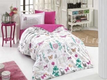 Полуторное постельное белье «ROSELLA», фуксия и белый, поплин в интернет-магазине Моя постель