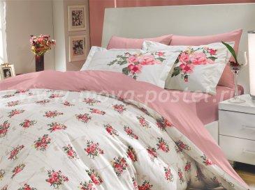 Розовое постельное белье из поплина «PARIS SPRING», евро размер в интернет-магазине Моя постель