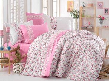 Белое постельное белье с цветочным узором «LUISA» из поплина с кружевом, евро размер в интернет-магазине Моя постель