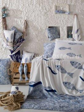 КПБ с рыбами евро BLUES, хлопок в интернет-магазине Моя постель