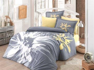 Постельное белье «ROMANA» из поплина, серого цвета, евро в интернет-магазине Моя постель