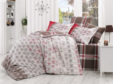 Постельное белье «BELEN» из поплина, коричнево-красное, евро размер в интернет-магазине Моя постель