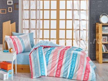 Постельное белье «SWEET DREAMS» голубое с полосками, поплин, полутороспальное в интернет-магазине Моя постель