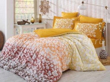 Постельное белье из поплина «MIRA» горчичного цвета, евро в интернет-магазине Моя постель