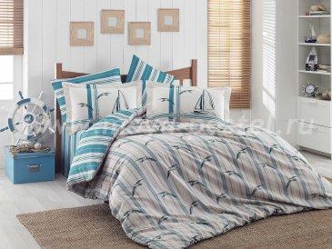 Постельное белье из поплина «MARINELLA» бирюзовое с полосами, полутороспальное в интернет-магазине Моя постель