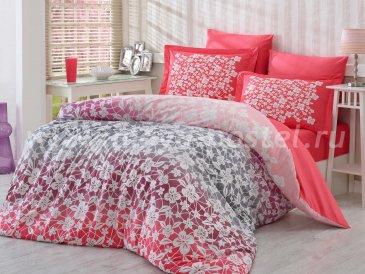 Постельное белье из поплина «MIRA» красного цвета, евро в интернет-магазине Моя постель