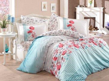 Постельное белье из поплина «FIESTA» бирюзовое в полоску, полутороспальное в интернет-магазине Моя постель