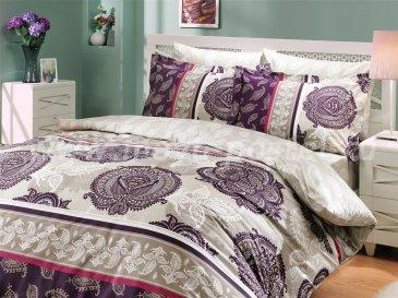 Комплект постельного белья из поплина «ARELLA», полутороспальный, фиолетовый с растительным узором в интернет-магазине Моя постель