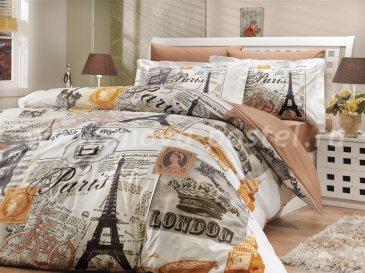Бежевое постельное белье «VICENTA», поплин, двуспальное в интернет-магазине Моя постель