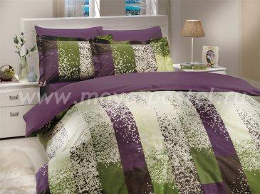Фиолетовое постельное белье в полоску, полутороспальное в интернет-магазине Моя постель