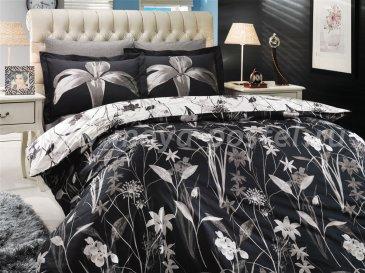 Черное постельное белье из поплина с изображением лилий «CLARINDA», полутороспальное в интернет-магазине Моя постель