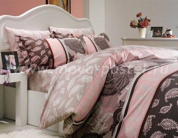 Постельное белье «ARELLA» цвета пудра, двуспальное, поплин в интернет-магазине Моя постель