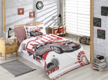Бордовое постельное белье из поплина «DRIFT» с реалистичным автомобильным принтом, полутороспальное в интернет-магазине Моя постель