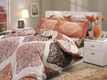 Коричневое постельное белье из поплина «AMANDA» с орнаментом в виде ромбов, полутороспальное в интернет-магазине Моя постель
