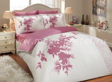 Постельное белье «ESTATE» из сатина, фуксия с белым, семейное в интернет-магазине Моя постель