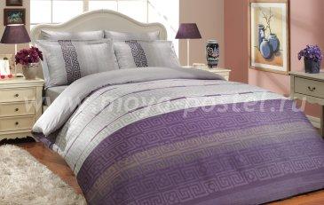 Постельное белье из сатина «DENIM» лилового цвета, евро в интернет-магазине Моя постель