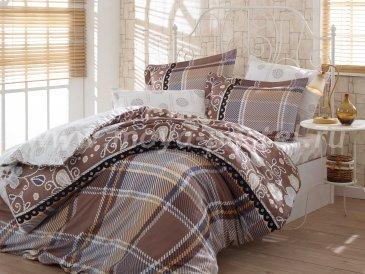 Постельное белье «MONICA» коричневого цвета, сатин, евро в интернет-магазине Моя постель