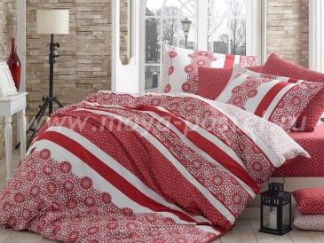 Евро постельное белье из сатина «LISA», красное в интернет-магазине Моя постель