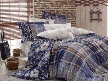 Постельное белье из сатина «MONICA», семейный комплект, синее в интернет-магазине Моя постель