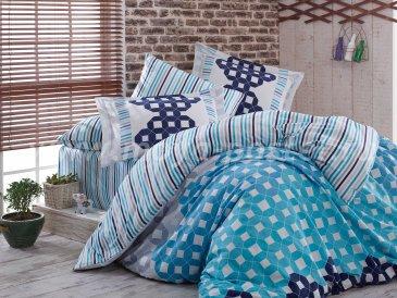 Голубое постельное белье с геометрическим узором «MARSELLA», сатина, евро в интернет-магазине Моя постель