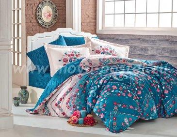 Бирюзовое постельное белье с цветами «SANCHA» из сатина, евро в интернет-магазине Моя постель
