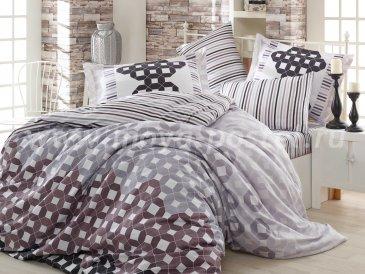 Серое постельное белье с геометрическим узором «MARSELLA», сатина, евро в интернет-магазине Моя постель
