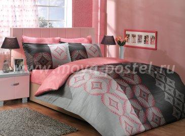 Постельное белье из сатина «GRIS» семейное, фиолетовое в интернет-магазине Моя постель