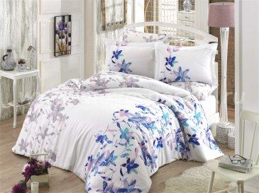 Синее постельное белье евро размера «LUCIA», сатин в интернет-магазине Моя постель