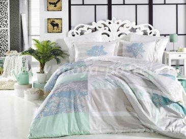 Голубое постельное белье «ELSA» из сатина, евро в интернет-магазине Моя постель