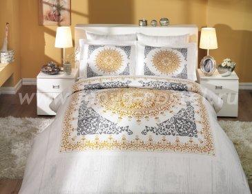 Постельное белье из сатина с черно-золотым орнаментом «SAPHIRE», семейное в интернет-магазине Моя постель