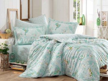 Постельное белье «MYSTERY» светло-зеленого цвета, сатин, евро в интернет-магазине Моя постель