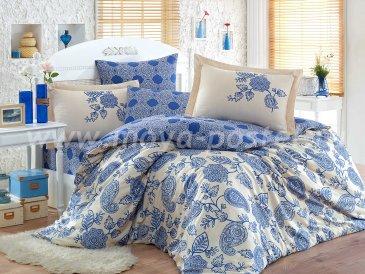 Постельное белье из сатина «ANTONIA» с синим орнаментом, евро в интернет-магазине Моя постель