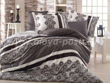 Евро постельное белье из сатина «LISA», черно-белое в интернет-магазине Моя постель