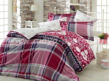 Постельное белье из сатина «MONICA», семейный комплект, бордовое в интернет-магазине Моя постель