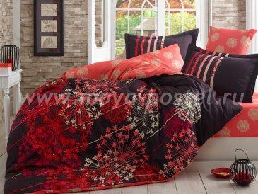 Черно-красное постельное белье евро размера «FIORELLA» из сатина в интернет-магазине Моя постель