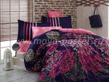 Сине-розовое постельное белье евро размера «FIORELLA» из сатина в интернет-магазине Моя постель