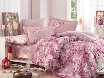 Постельное белье из сатина «ROMINA», евро, фуксия в интернет-магазине Моя постель