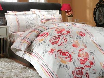 Белое постельное белье с красным орнаментом «ARABELLA» евро размера, сатин в интернет-магазине Моя постель