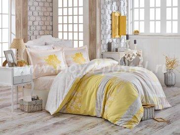 Желтое постельное белье «ELSA» из сатина, евро в интернет-магазине Моя постель
