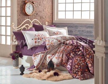 Коричневое постельное белье с цветами «SANCHA» из сатина, евро в интернет-магазине Моя постель