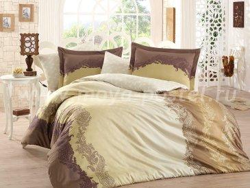 Коричневое постельное белье «FILOMENA» из сатина, евро в интернет-магазине Моя постель