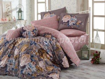 Серое постельное белье «ROSANNA» с розами, полутороспальное, сатин в интернет-магазине Моя постель
